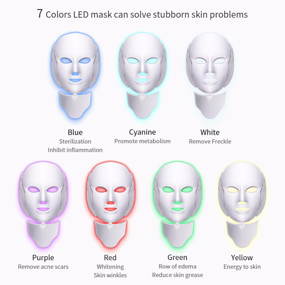 Foreverlily 7 Couleurs led masque facial led Coréenne Photon thérapie visage machine à masques Luminothérapie Acné Masque Cou Beauté masque led - 2