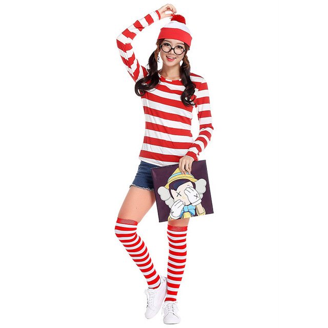fa0004c2667 Where s Wally Waldo Wenda Wendy Halloween Ladies Fancy Dress Costume ...