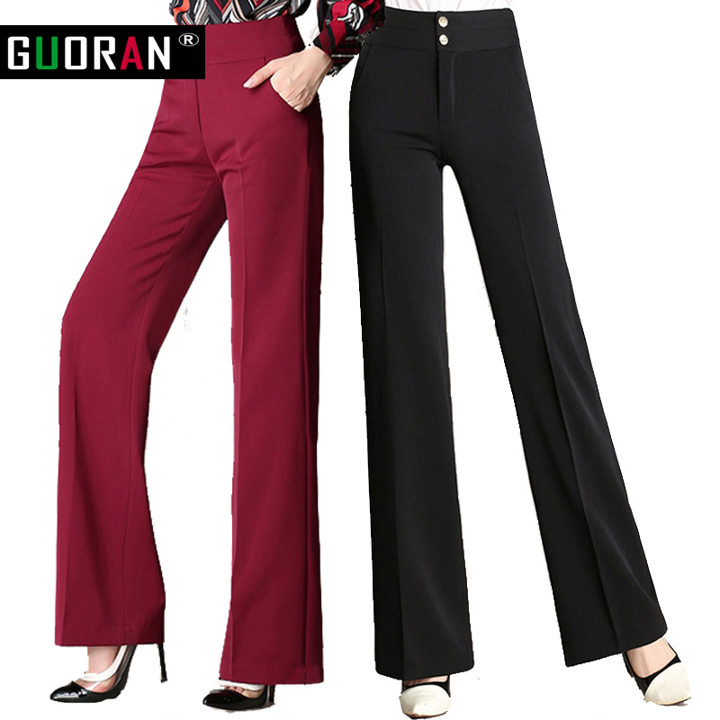 Guoran   Wide     Leg     Pants   Women Plus Size 4XL Black Red Blue high waist loose Long formal patchwork office female straight Trousers