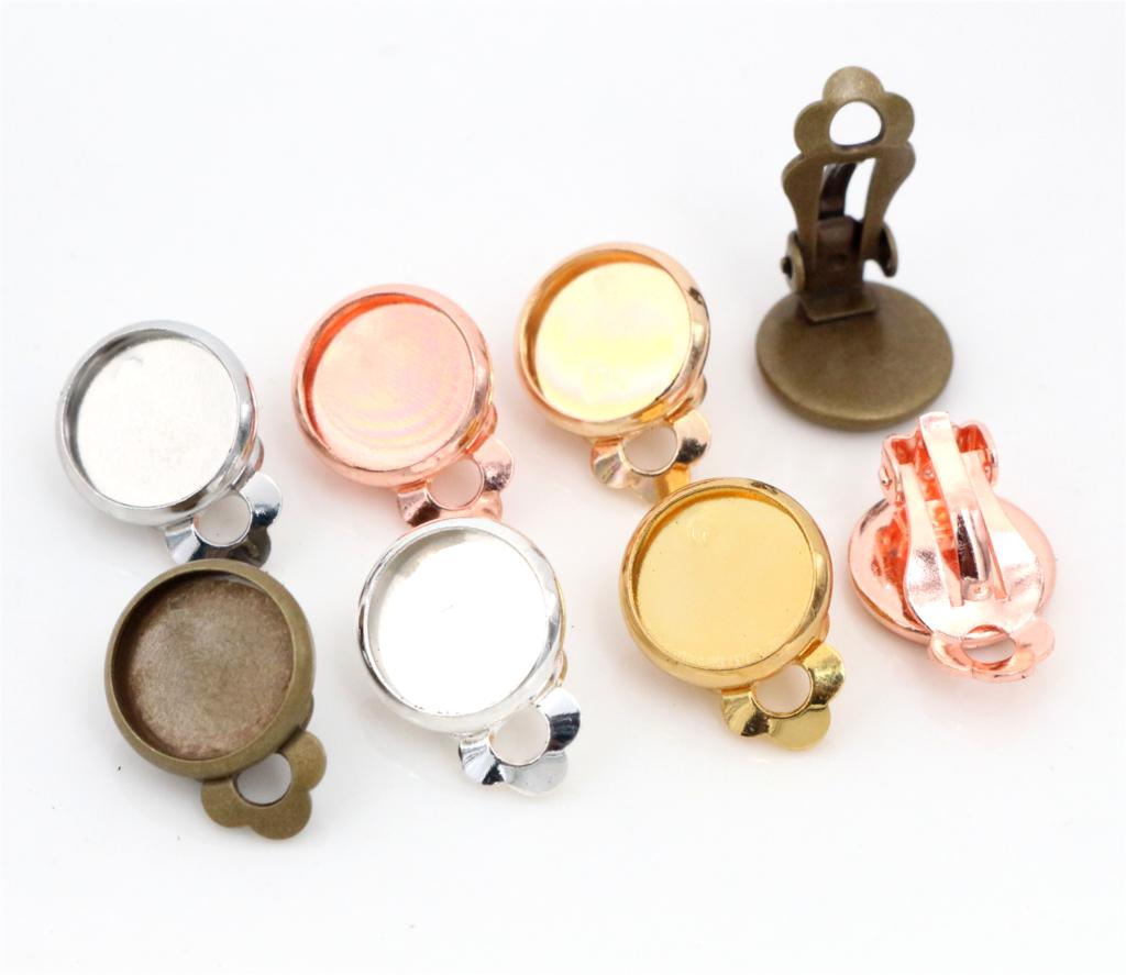 10mm 10pcs/lot Copper Material Ear Clips 8 Colors Plated ,Earrings Blank/Base,Fit 10mm Glass Cabochons,earring Setting