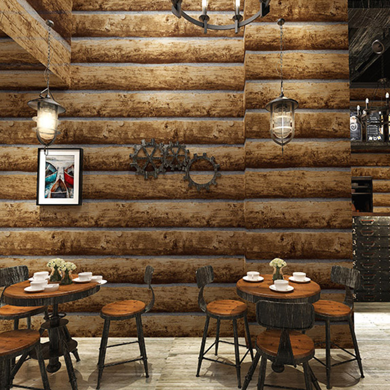 Retro Antique Wooden Wallpaper 3D Stereo Restaurant Coffee Shop Bar Stripe Wall Papers For Walls PVC Waterproof Papel De Parede
