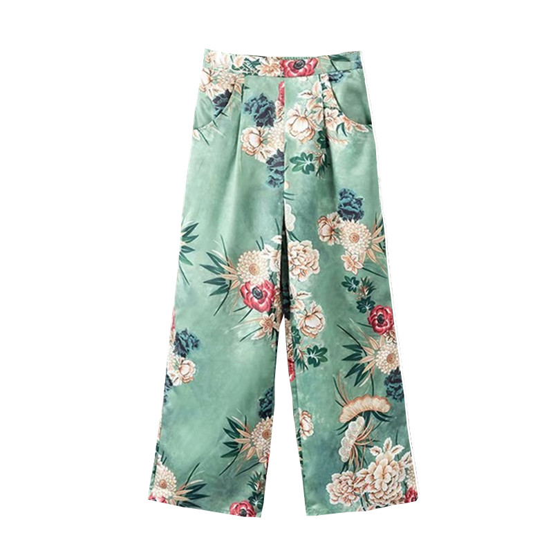 Women Floral Print Satin   Wide     Leg     Pants   Elastic Waist Patterned   Pant   Pockets Loose Ankle-Length Casual Trousers