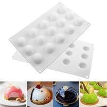 3D 15 Grids Silicone Molds Mini Truffle Round Ball Shaped Baking Moulds Cake Mold For Dessert Muffin Brownie Pudding Jello