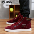 LIN KING New Men Casual Shoes Solid Lace-up High Top Outdoor Walking Shoes Height Increasing Round Toe Thick Sole Ankle Shoes