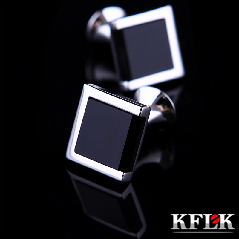 KFLK Jewelry shirt cufflinks for mens Brand Black cuff link Wholesale bouton High Quality Luxury Wedding Male Gift Free Shipping