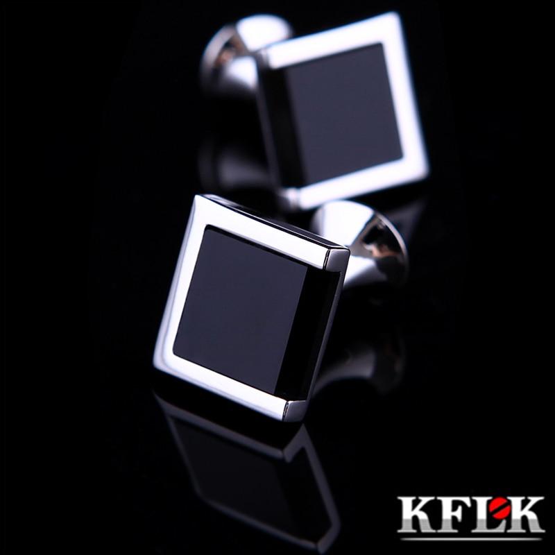 KFLK camisa de jóias abotoaduras para homens marca preto botão de punho atacado bouton presente de casamento de luxo de alta qualidade masculino frete grátis