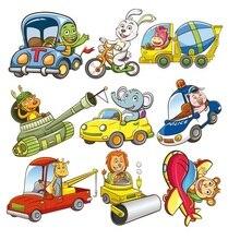 Милая Животные автомобили набор Патчи Наклейки Аппликации передачи тепла Diy значки термонаклейки для детей, детская одежда