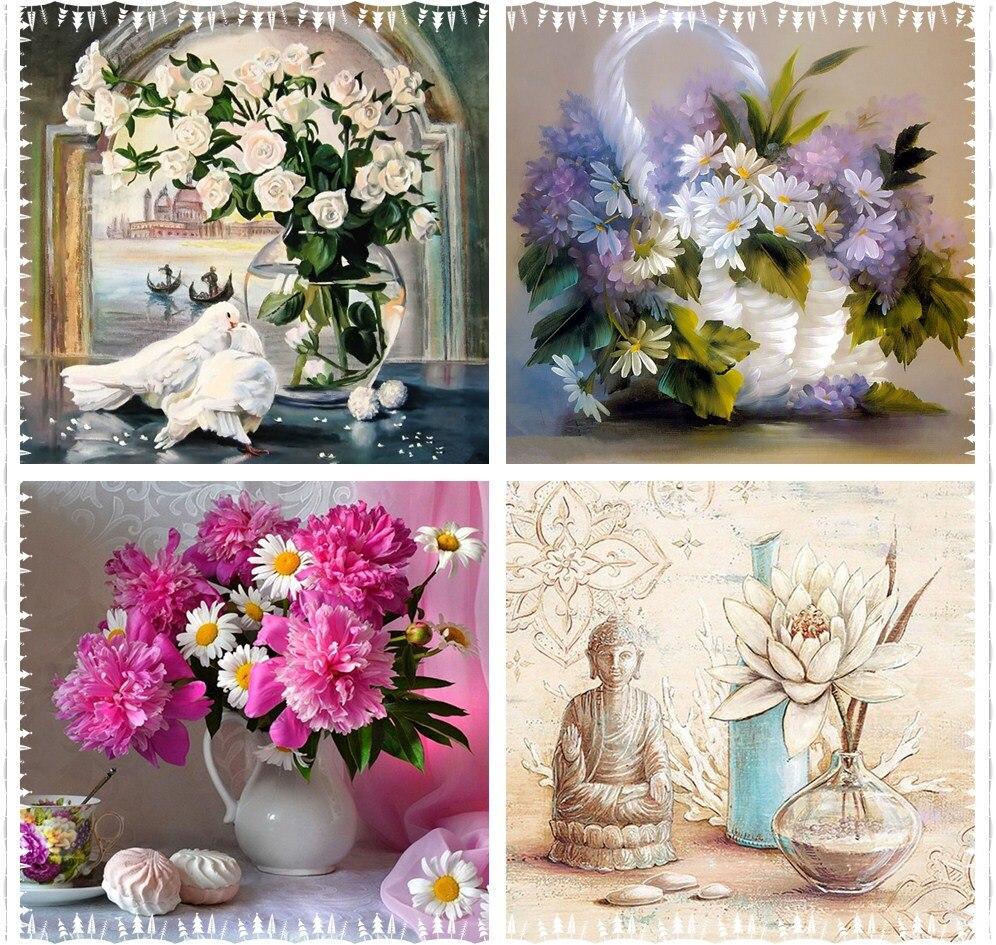Květiny, DIY, Plný, 5D, Diamantové malování, Mosaic Cross - Umění, řemesla a šití