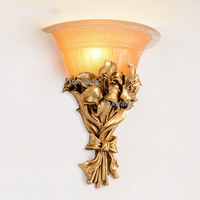 American Classic LED Glass Gold Wall Lamp Gold Resin Flower Wall Sconce Fixture For Bedroom Corridor lamp Home decor wall light