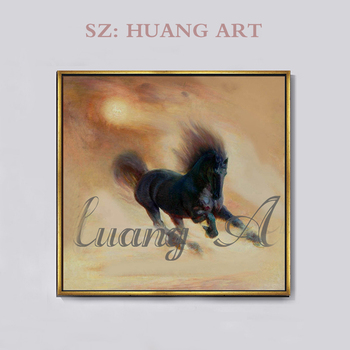 Hand-painted modern freehand brushwork animal oil painting black horse running sofa decorated hall office conference roo