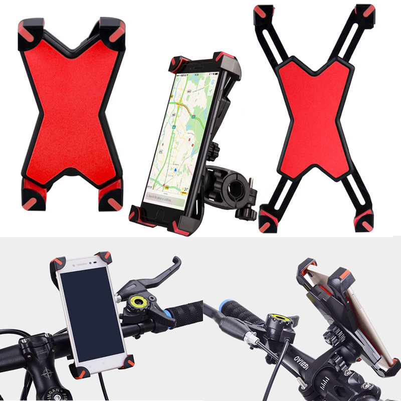 Universal Anti-Slip Bike Phone Holder on Mountain Bicycle Motorcycle Moto Bicycle Mobile Holder for Width 3.5-7inch Phone GPS O3