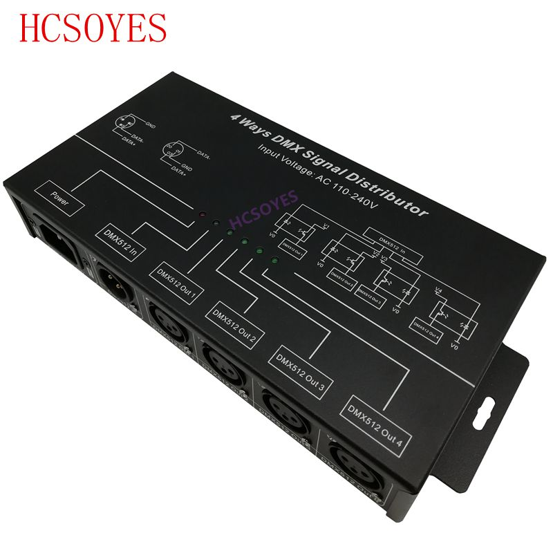 DMX124 AC100V 240V input DMX512 amplifier Splitter DMX signal repeater 4CH 4 output ports DMX signal