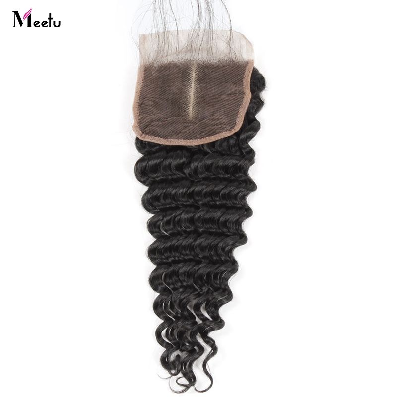 Meetu Peruvian Deep Wave Closure With Baby Hair Free/Middle/Three Part Lace Closure 100% Human Hair Closure  4x4 Inch Non Remy