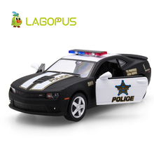 цена на 1:36 Scale Car Toys Chevrolet Camaro Police Edition Diecast Metal Pull Back Car Model Toy Collection Gift For Kids New