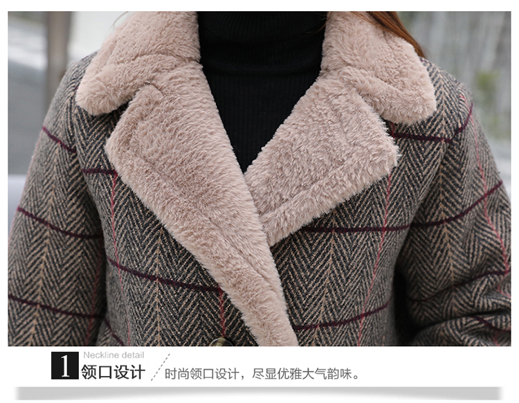 Lamb fur-padded 2018 winter women's new loose-fitting mid-length padded check wool coat, cotton-padded jacket 9