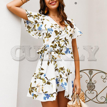 CUERLY Boho lace up floral print dress women summer Plus size A line elegant sashes short vestidos Holiday ladies beach