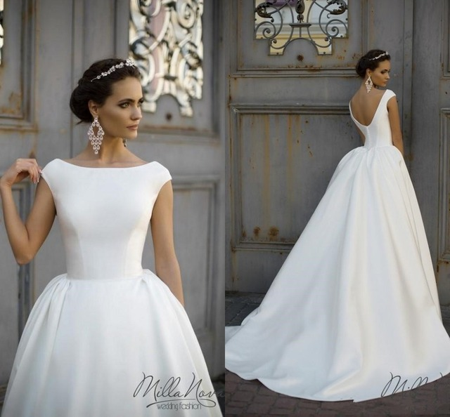modernos vestidos boda con las mangas del casquillo bateau sin respaldo baln vestido de tren capilla botn cubierto ruffle novia de la boda vestidos