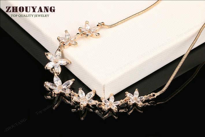 ZHOUYANG najwyższej jakości ZYN025 biały lato kwiaty różowe złoto kolor wisiorek naszyjnik biżuteria austriacki kryształ