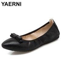 YAERNI/Новинка 2018 г. складные балетки, женская обувь на плоской подошве, лоферы, женская повседневная обувь с острым носком и бантом, E714