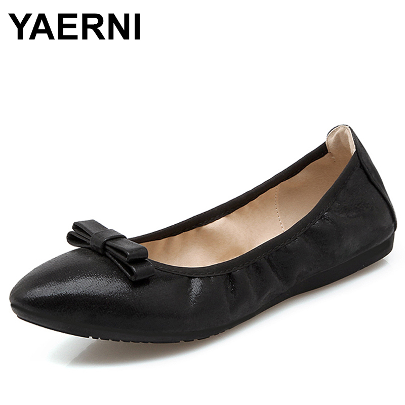 YAERNI 2018 New Foldable Ballet Women Flat Shoes Loafers Female Pointed Toe Bow Casual Shoes E714 2016 the new leisure women pointed toes loafers leopard black gray female rivet flat shoes for women s shoes a24