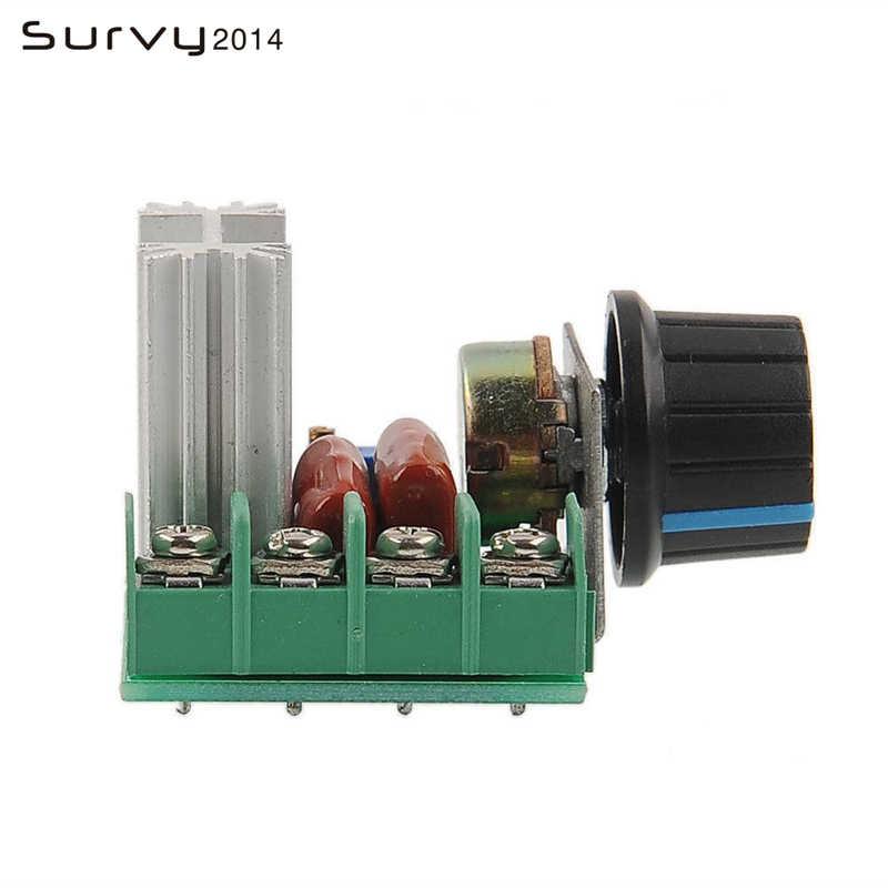 Elektroniczny Regulator napięcia wysokiej mocy 220V 2000W silnik AC ściemniacze SCR kontroler pokrętło przełącznika kontrola prędkości narzędzia