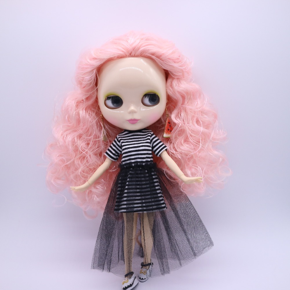 Free shipping cost joint body Nude blyth Doll black hair