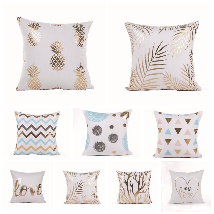 Ins Black And White Bronzing Pillowcase Gold Foil Printed Cushion Decorative Pillow Cushions Home Decor Sofa Throw Pillows 18*18