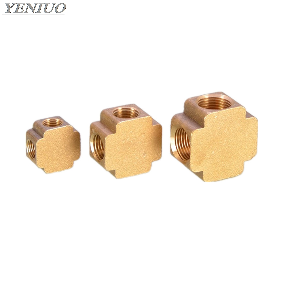 Square Script 4 Ways Brass Pipe Fittings Equal Female Connector 1/8