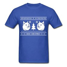 2017 new arrival Ugly Christmas Sweater Pattern Shiba Inu Men's T-Shirt8482; 100% cotton male O-Neck T Shirt short tops tee