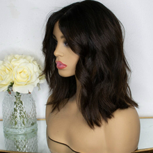 LUFFYHAIR Medium Length Wavy Lace Front Wigs Middle Part Sty
