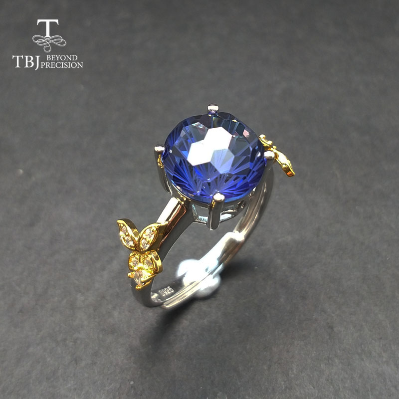 TBJ,Romantic ring with coated tanzanite color topaz football cut gemstone ring in 925 silver fine jewelry for girls as a gift tbj romantic small ring with natural good color blue tanzanite gemstone girl ring in 925 sterling silver fine jewelry for women