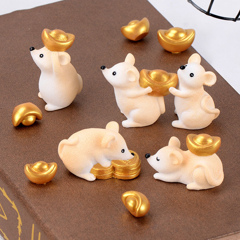 Cute Mouse Animal Figurines Resin Gold Ingots Miniatures Figurine Craft Bonsai Pots Home Fairy Garden Ornament Decoration