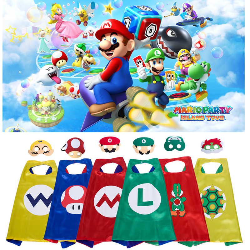 2019 Cartoon Anime Super Mario Cosplay Costumes Boys Girls Kids Hat+Mask+Cloak Super Mario Bros Suit Cosplay Props Capes New Toy