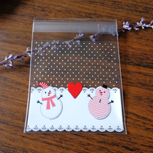 Christmas Snowman with Heart Dots Gift Food Bag Self Seal Cellophane Bag Cute Cookies Biscuit Cake Plastic Party Cake Bag(China (Mainland))