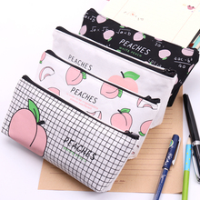 New Canvas Fruit Peach Pencil Case School Cases for Girl Stationery Bag Estojo Escolar Supplies