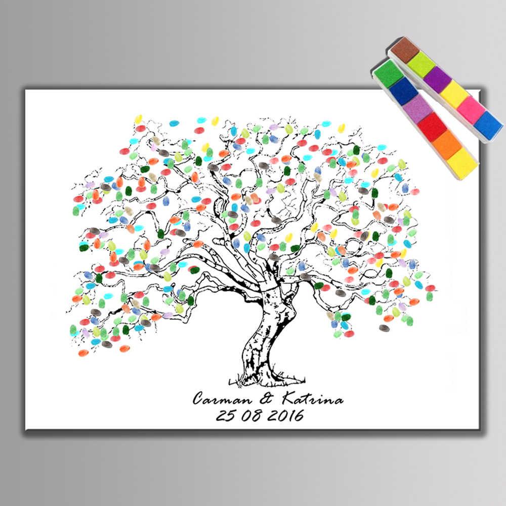 HAOCHU di Impronte Digitali Firma Libro Degli Ospiti Regalo di Nozze Forniture Da Parte Del Bambino Doccia Albero Decorazione di Cerimonia Nuziale Poster + 2 set Inkpad
