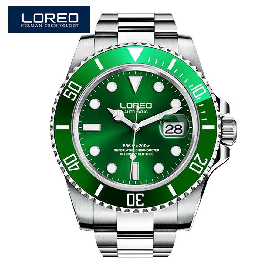 LOREO Green Water Ghost Series Luxury Men Automatic Watches Stainless Steel Diving 200m Waterproof Luminous Mechanical