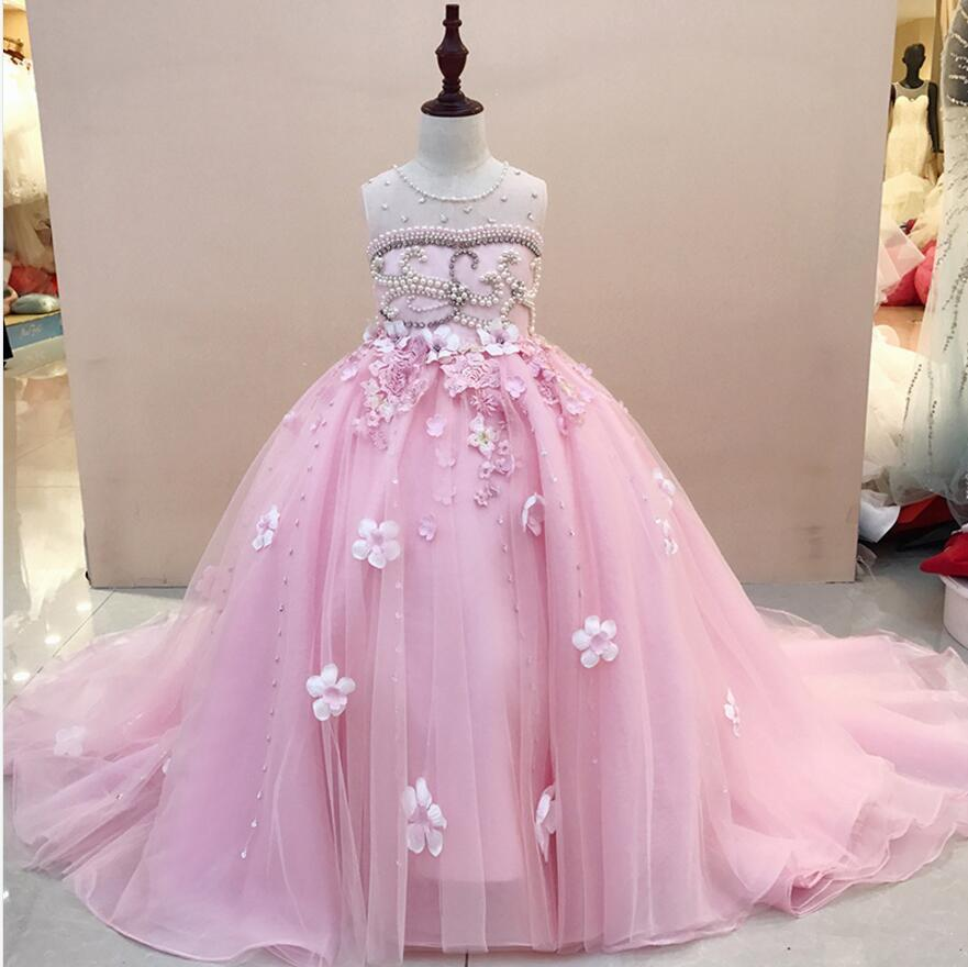 Glizt Trailing Flower Girl Wedding Dresses Bead Appliques Lace Girl Party Princess Birthday Dress First Communion Gown цена