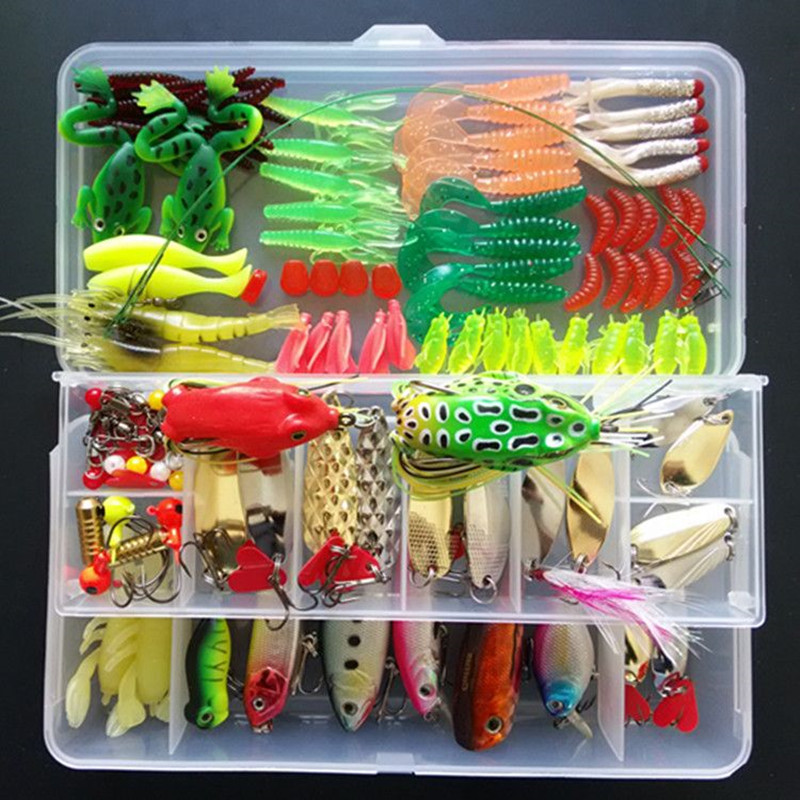 цены Multi Fishing Lure Mixed Colors Metal Spoon Bait Soft Lure Kit Popper Wobbler Frog Fish Hooks Tackle Pesca Iscas Artificias