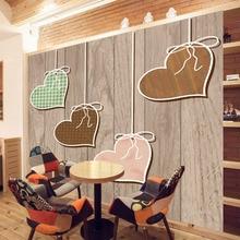 купить Large mural European modern minimalist wooden board love living room TV background wall painting room bedroom wallpaper decor дешево