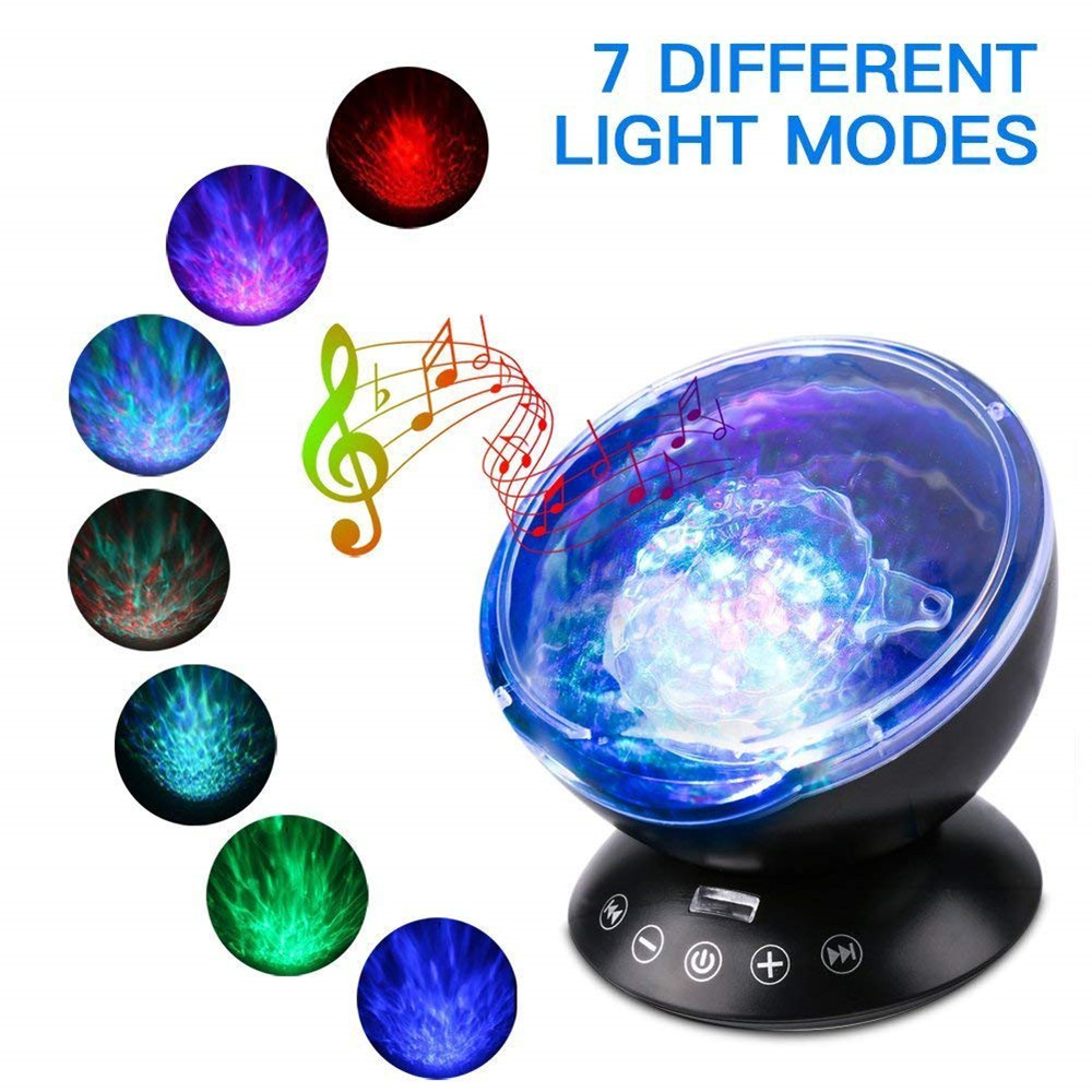 Elecstars Usb Lamp Nightlight Led Night Light Ocean Wave Projector Remote Control Ocean Wave With 12 Led 7 Color Changing Drip-Dry Led Night Lights