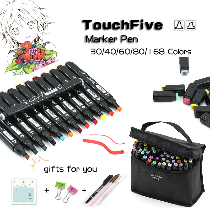 TouchFive Black Body Marker Pen Set Graphic Sketch Touch Art Markers Double Headed Alcohol Based Art Pen Painting Supplies 80 colors painting art marker pen alcohol marker pen cartoon graffiti dual headed sketch markers set art supplies black white
