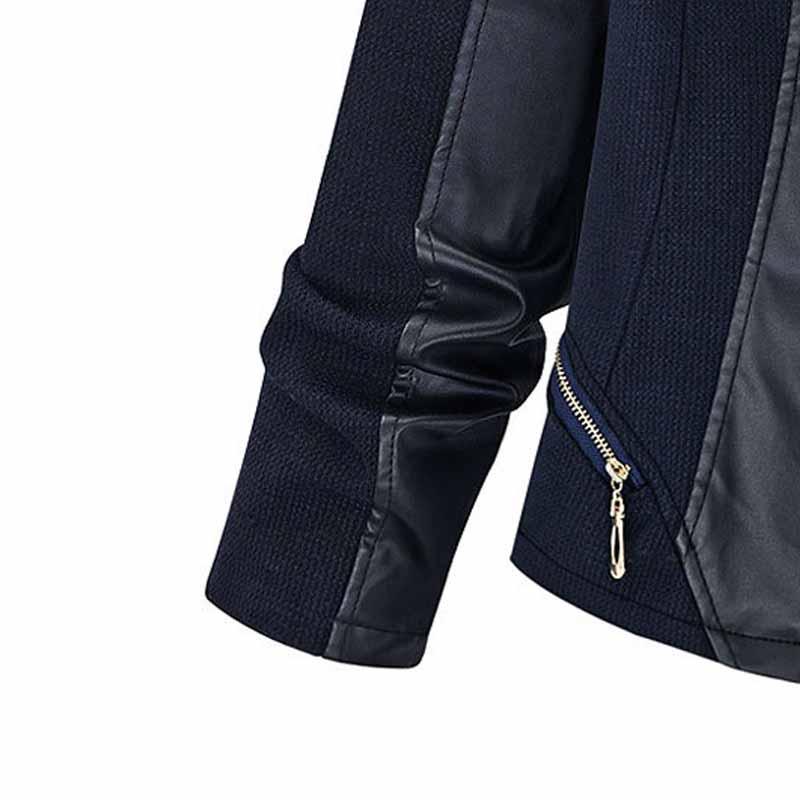 Matelassé À Glissière Taille Manteau Diamant Faux Cuir Fermetures Col Bleu Chic De 2018 Femmes Veste Plus Bouton Patchwork Montant YxXq6R
