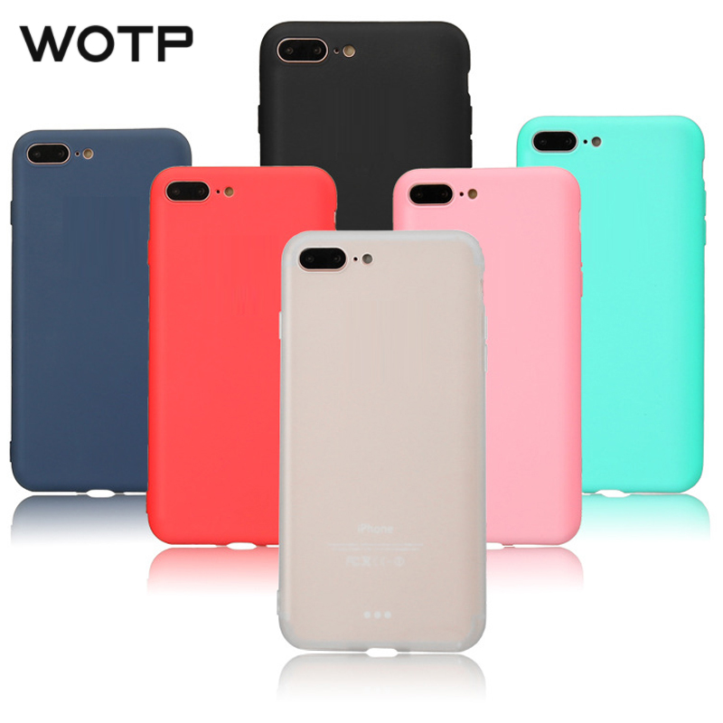 WOTP Candy Color Simple Soft TPU Phone Case For iphone X Cute Cartoon Couples Fashion Back Cover For iphone 5S SE 6 6S 7 8 Plus