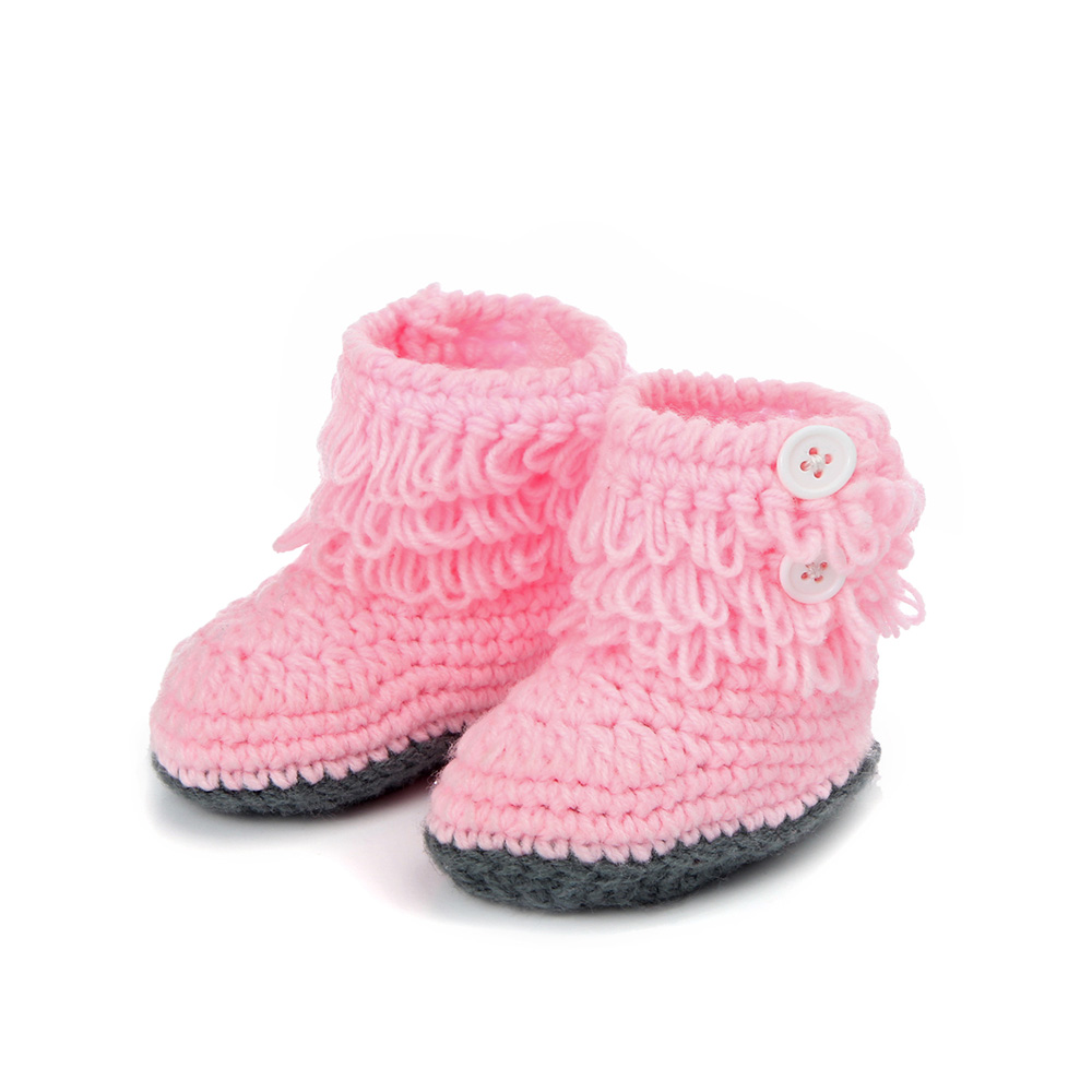 Handmade Crochet Baby Shoes Girls Knitted Tassels Ankle Baby Boots