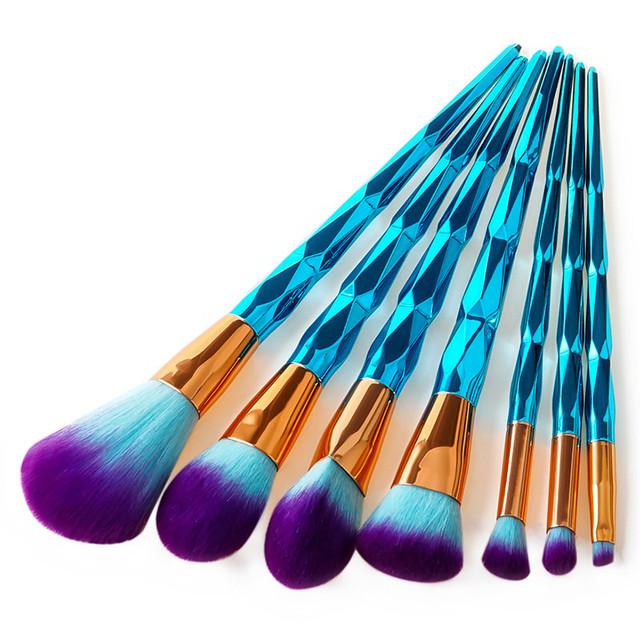 4/7/10Pcs Diamond Makeup Brushes Peacock Blue Mermaid Eyeshadow Powder Facial Foundation Cosmetic Brush Kit Pro Eye Brush Set