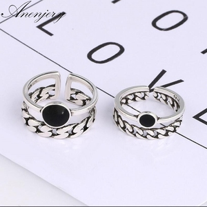 Anenjery Punk Thai Silver Double Layer Chian Adjustable Rings Old 925 Sterling Silver Index Finger Rings For Women S-R288(China)