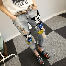 Fashion Sexy Slim Women Prints Patchwork Supper Jeans Casual Denim Pants Trousers Hole Vintage Girls Ripped Jeans