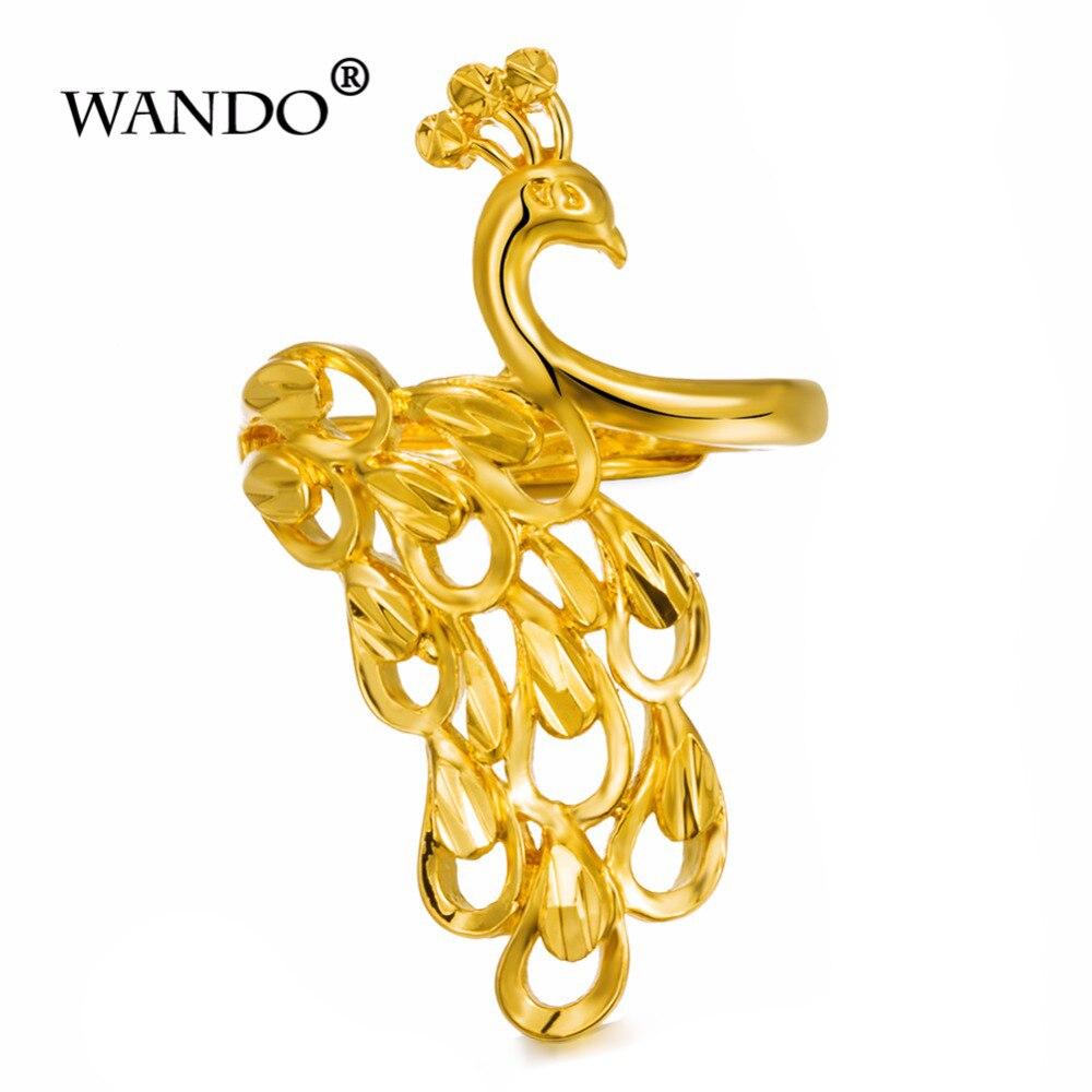 Wando Золотое кольцо украшен Феникс для женщин Обручение Золотой свадьбы Цвет Изменение размера Эфиопский золотой Феникс кольцо wr45