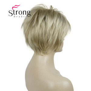 Image 4 - StrongBeauty Short Layered Blonde Thick Fluffy Full Synthetic Wig Heat Ok